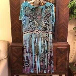 Aqua Bojo Print Dress 1X